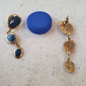 Vintage gold and blue earrings